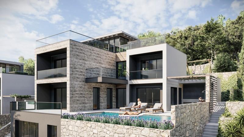 3 vile u izgradnji u Blizikućama. Neto površina svake vile 438 m2!
